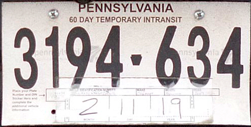 Pennsylvania In-Transit Tags - Where do I get