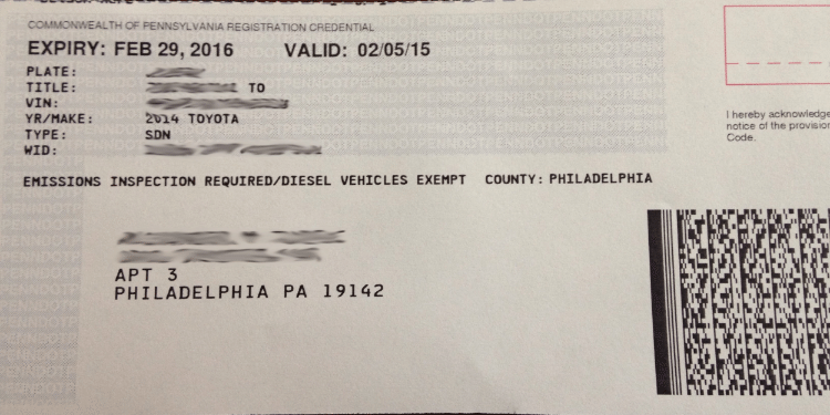 PA vehicle registration example representing the services of notary services company Messenger Service Inc servicing South Hills, PA